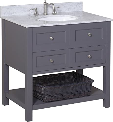 New Yorker 36-inch Bathroom Vanity Carrara Charcoal Gray Italian Carrara Marble Countertop, Charcoal Gray Cabinet, Soft Close Drawers, and a Ceramic Sink