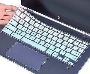 CaseBuy Keyboard Cover for HP Chromebook X360 14 inch Touchscreen, HP Chromebook 14-DA 14B-CA Series, HP Chromebook 14 x360 Keyboard Protector Skin, Ombre Mint Green