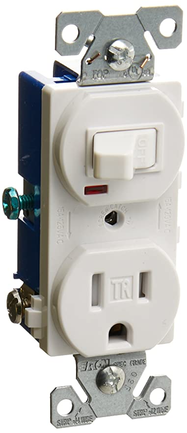 Eaton TR274W 3-Wire Receptacle Combo Single-Pole Switch with Tamper ...