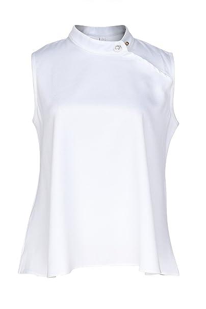 Beauty7 ES 36 Chalecos Mujer Off Hombro Perla Cuello Mao Sin Mangas Camisetas Verano T Shirt