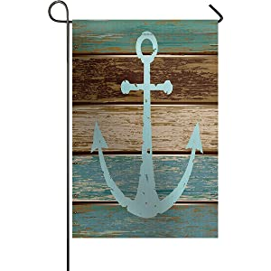 Nautical Anchor Rustic Wood Garden Flags House Decor Mini Yard Banner,100% Polyester