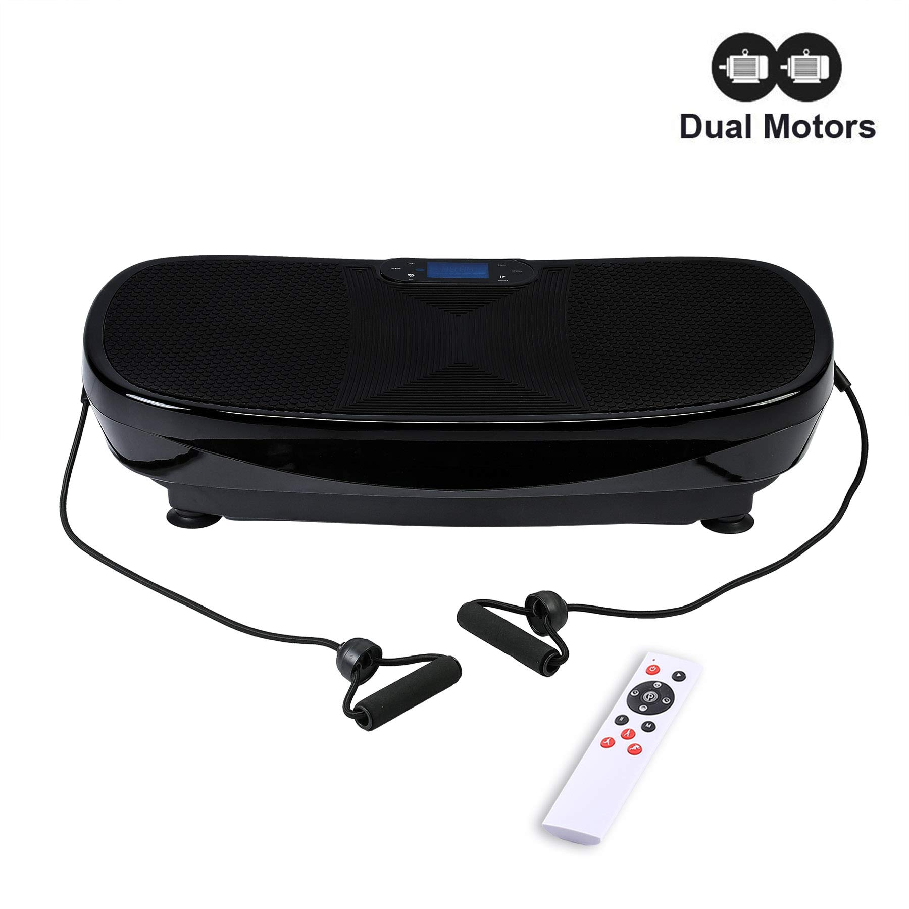 Z ZELUS 3D Fitness Whole Body Vibration Platform Machine - 400W Dual Motors Vibration Plate Crazy Fit Massage Exercise Machine with Remote Control and Resistance Bands (Upgraded Black)
