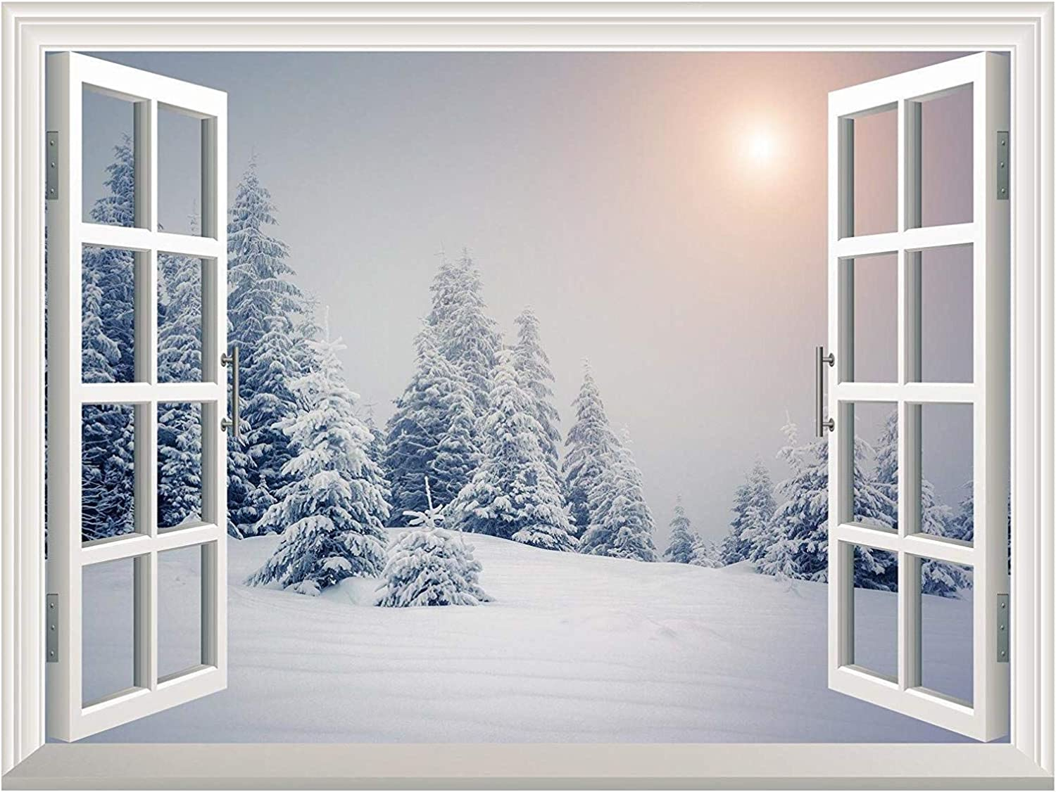 """wall26 Removable Wall Sticker/Wall Mural - Pine Trees Covered by White Snow Out of The Open Window Wall Decorr - 36""""x48"""""""
