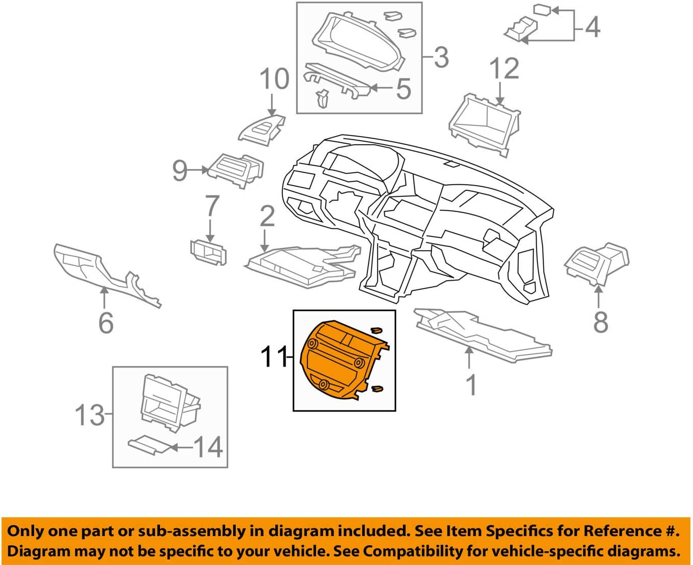 Genuine Honda 77250-TA0-A03ZD Center Panel Assembly Motors Brake ...