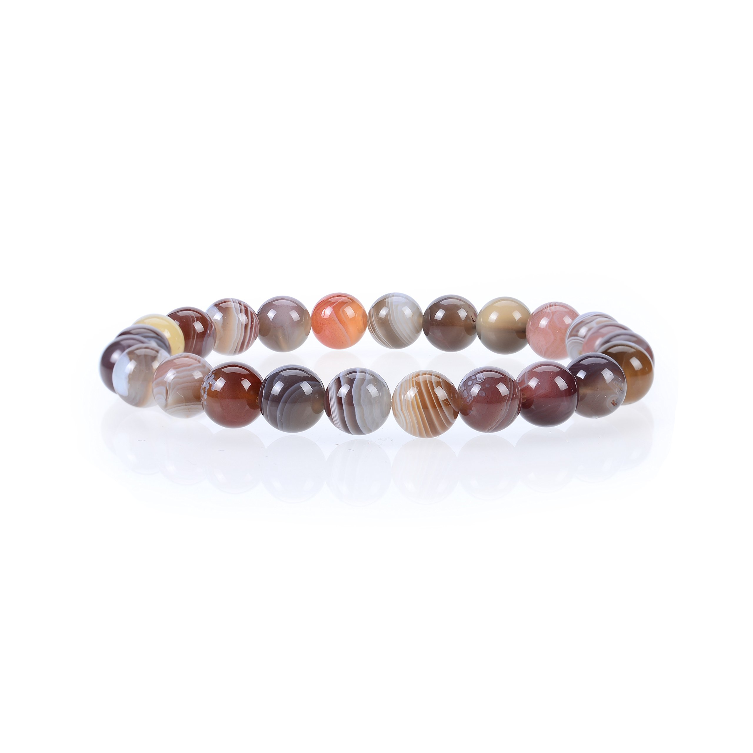 Cherry Tree Collection Natural Semi-Precious Gemstone Beaded Stretch Bracelet 8mm Round Beads 7'' (Botswana Agate)