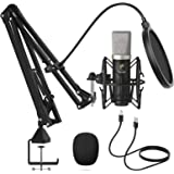 Condenser Microphone 192kHz/24Bit, TONOR USB Cardioid Computer Mic Kit with Upgraded Boom Arm/Spider Shock Mount for Recordin
