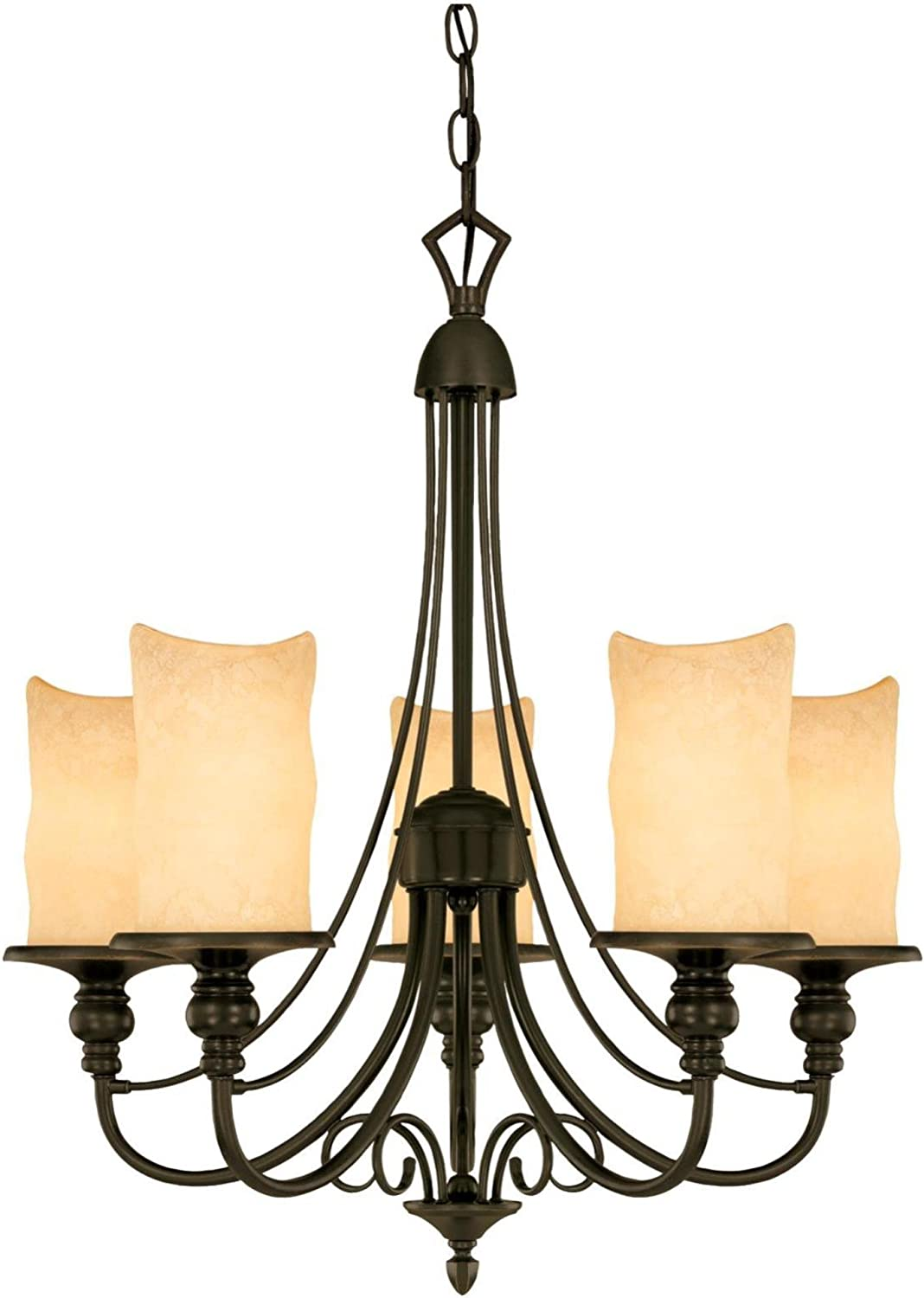 Westinghouse Lighting 69001 Hearthstone Five-Light Chandelier, Burnished Bronze Patina Finish with Burnt Scavo Globe