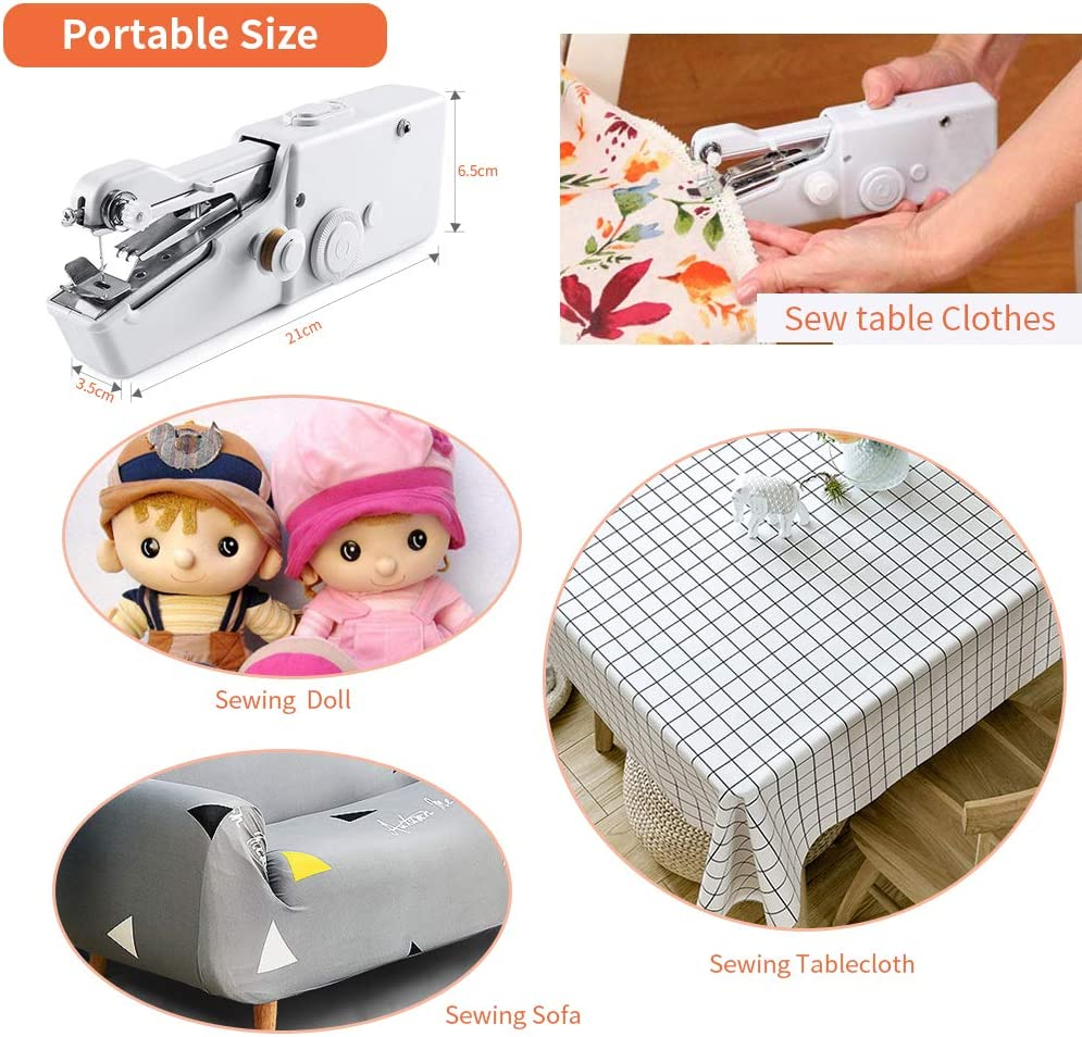 Handheld Sewing Machine Mini Electric Sewing Machine Quick Handy Stitch for Home and Travel Use White