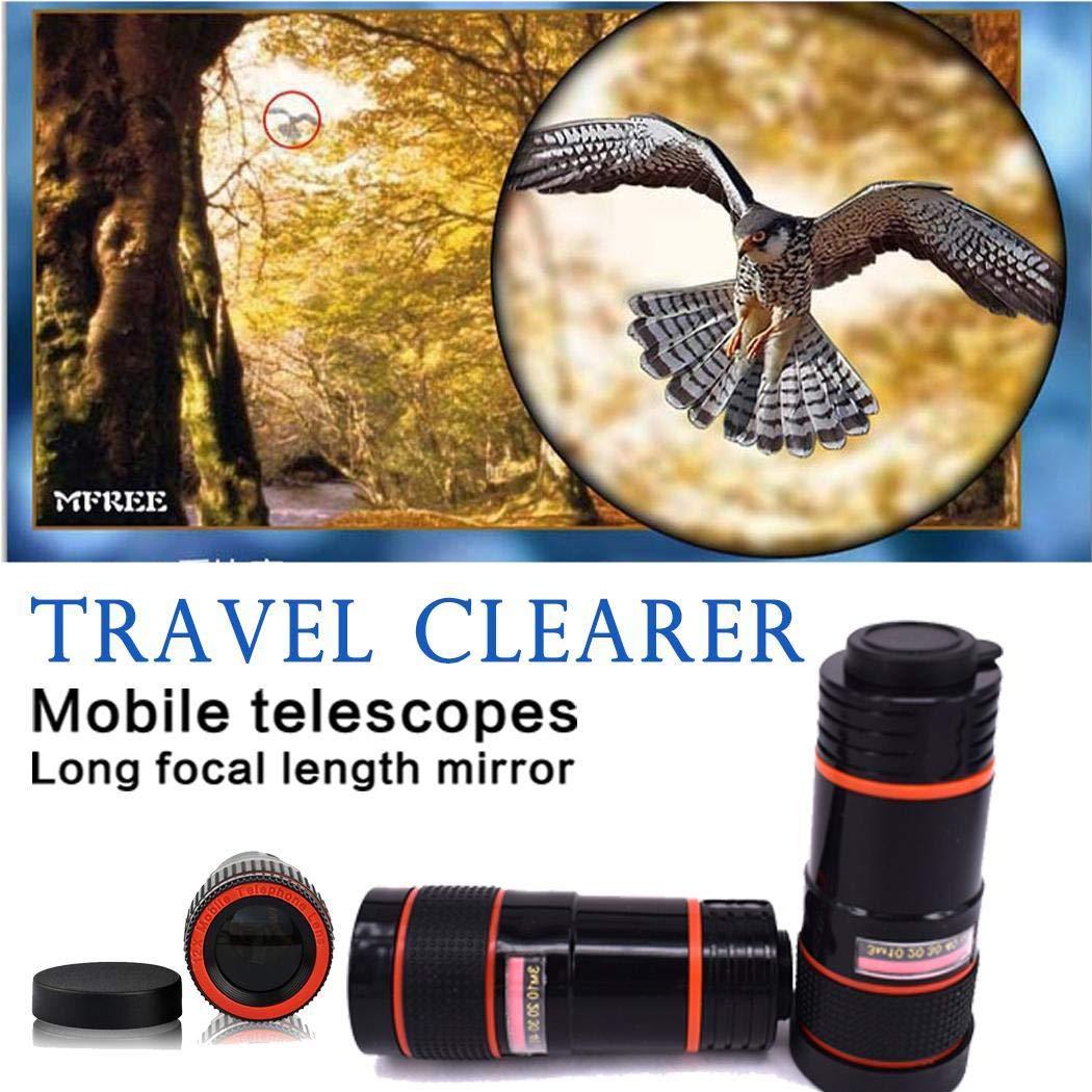 edited Unisex Lentes para Móviles, Clip de Zoom de telescopio óptico HD General de 8X para cámara de teléfono Celular, Kit de Lentes de cámara telescopio Lente para móviles