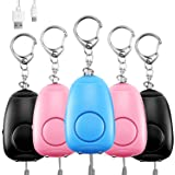 Safe Sound Personal Alarm, 5 Pack Personal Security Alarm Key Chain with Double LED Lights, Emergency Safety Alarm…