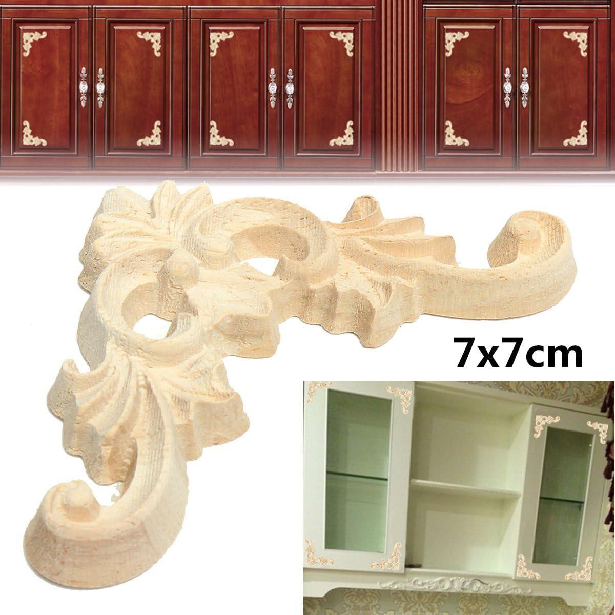 Jeteven 4 Pcs Bois Sculpt/é Angle Vintage D/écoration Meubles Armoire Fen/être Miroir Ornement /à la Main 9 cm x 6 cm