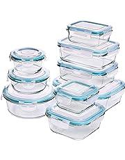 Glas-Frischhaltedosen 18 Stück [9 Behälter + 9 Deckel] - Glasbehälter - Transparente Deckel - BPA frei - für Home Küche oder Restaurant - von Utopia Kitchen