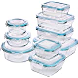 Utopia Kitchen Glass Food Storage Container Set - 18 Pieces (9 Containers and 9 Lids) - Transparent Lids - BPA Free