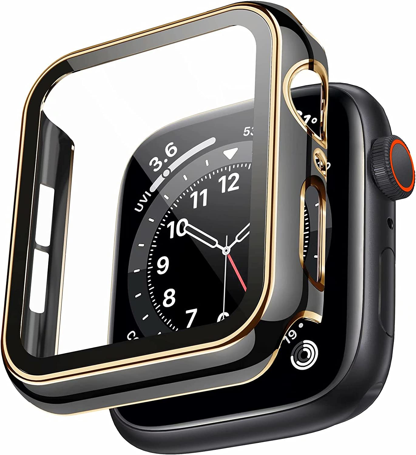 Swhatty Case Compatible with Apple Watch 44mm 40mm 42mm 38mm, Bumper Built in Tempered Glass Screen Protector, Protective Cover for iWatch Series SE 6 5 4 3 2 1 Women Men (Light Gold Edge Black, 42mm)