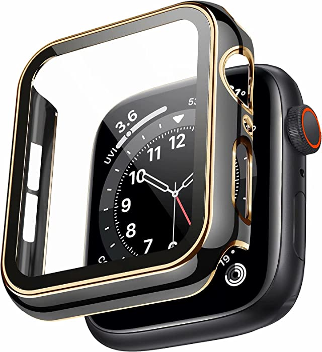 Swhatty Case Compatible with Apple Watch 44mm 40mm 42mm 38mm, Bumper Built in Tempered Glass Screen Protector, Protective Cover for iWatch Series SE 6 5 4 3 2 1 Women Men (Light Gold Edge Black, 44mm)