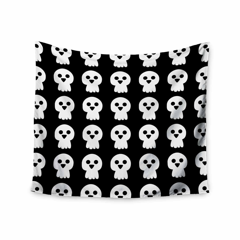 Kess InHouse bruxamagica Cute Halloween Skull Black White Illustration Holiday Pattern 68 x 80 Wall Tapestry