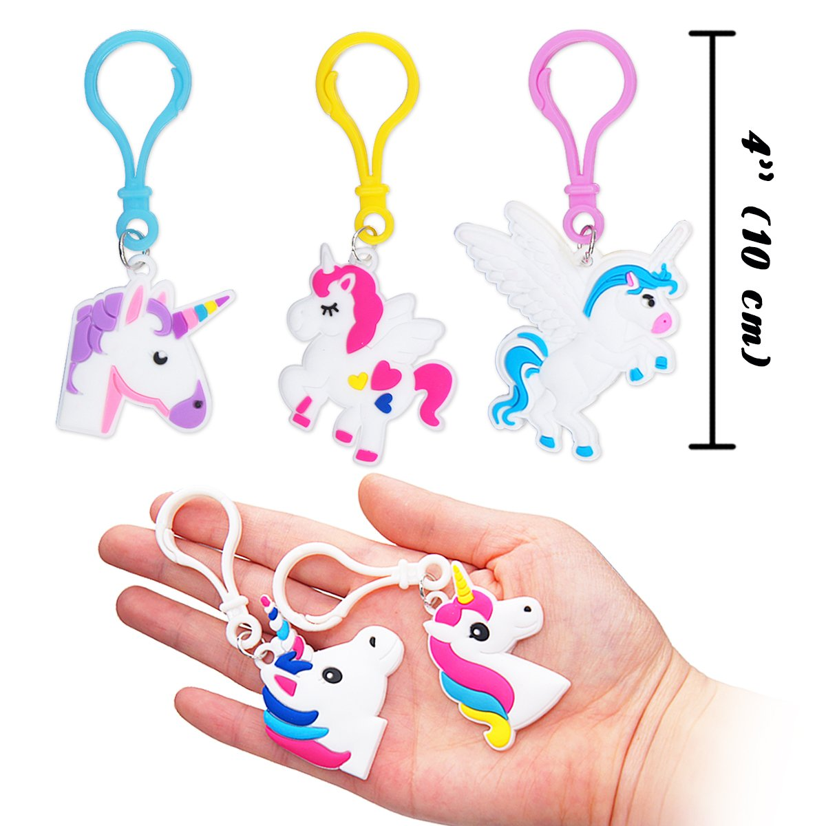 Emoji Birthday Party Favors Supplies for Kids Girls Rubber Band Keychains Classroom Toys Prizes Gifts Zikwell Pawliss 24 Pack Unicorn Slap Bracelets Wristband Backpack Clips