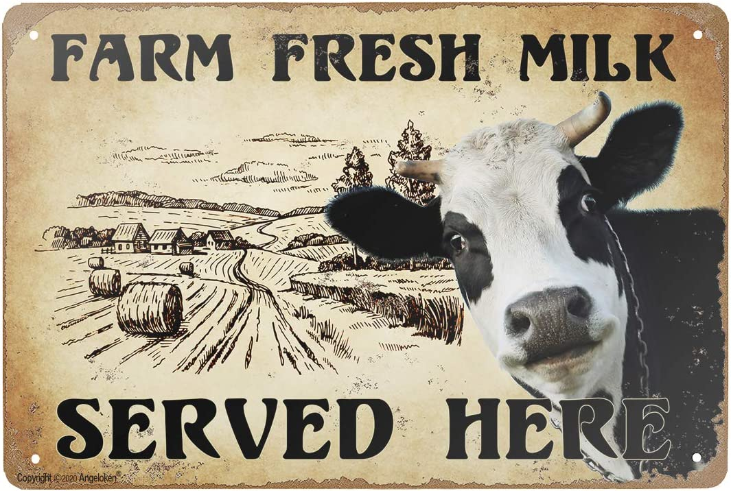 Tin Sign -Farm Fresh Milk Served HERE- Vintage Style Bar Pub Garage Hotel Diner Cafe Home Iron Mesh Fence Farm Supermarket Mall Forest Garden Door Wall Decor Art (8