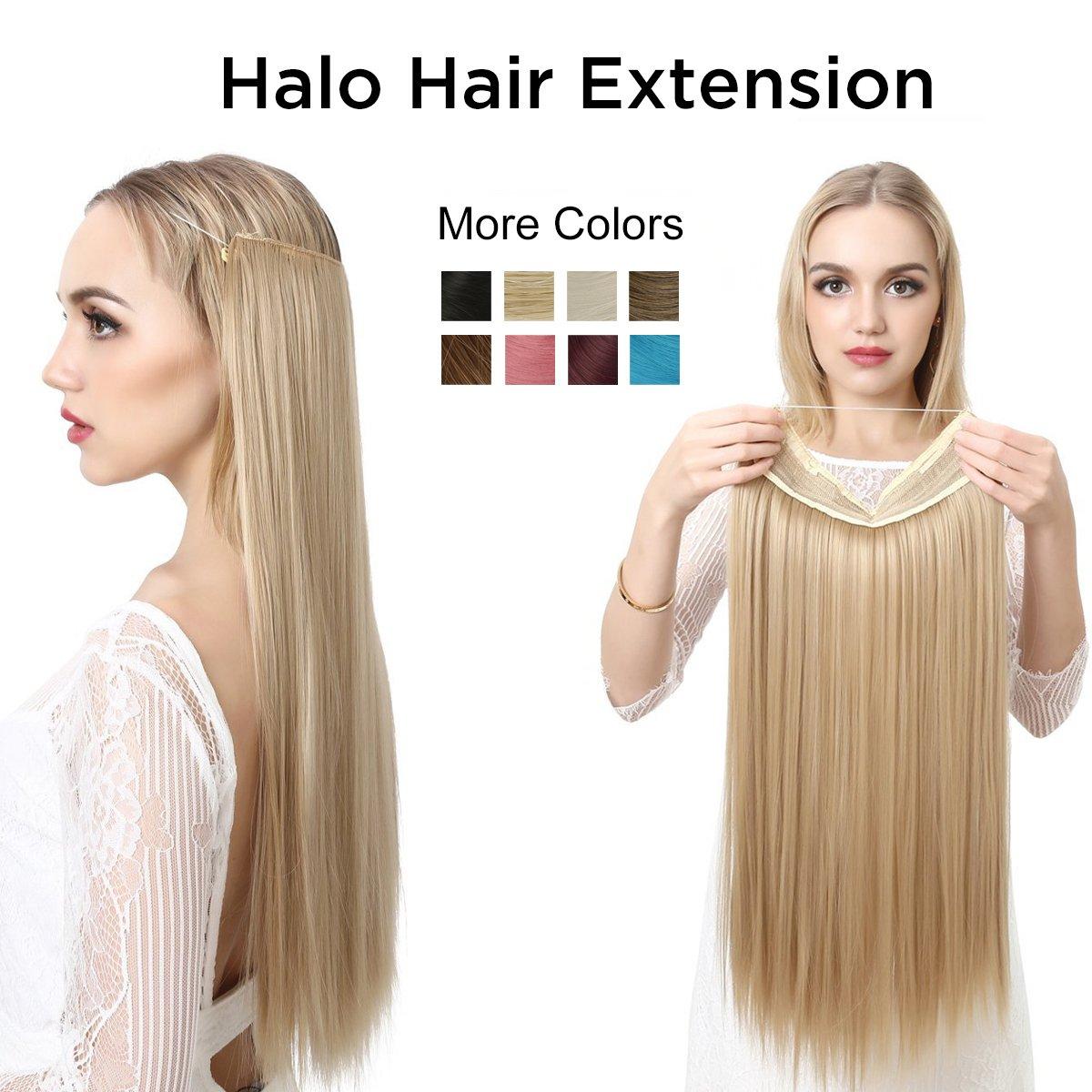 "SARLA Secret Extension Long 22"" Straight Halo Hair Extensions Flip in Natural Synthetic Hair Pieces For Women Hairpiece Hidden Wire Crown Headband Heat Friendly Fiber (M02#33 dark auburn)"