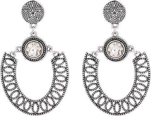 Gold Silver Retro Crystal Carved Earring Tassel Drop Earrings Party Jewelry