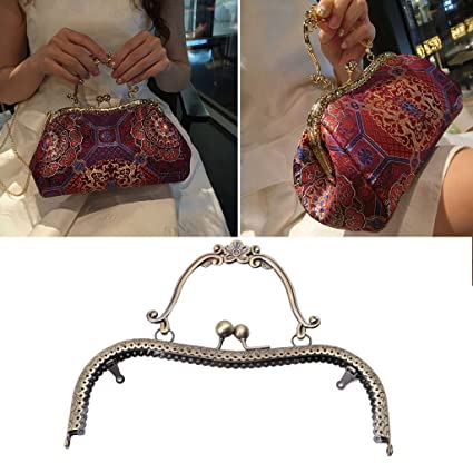 Metal Sewing Holes Handbag Clutch Coin Purse Bag Frame Kiss Clasp Arch Bag Accessorries Retro Bag Lock For Purse Wallet #25 Luggage & Bags