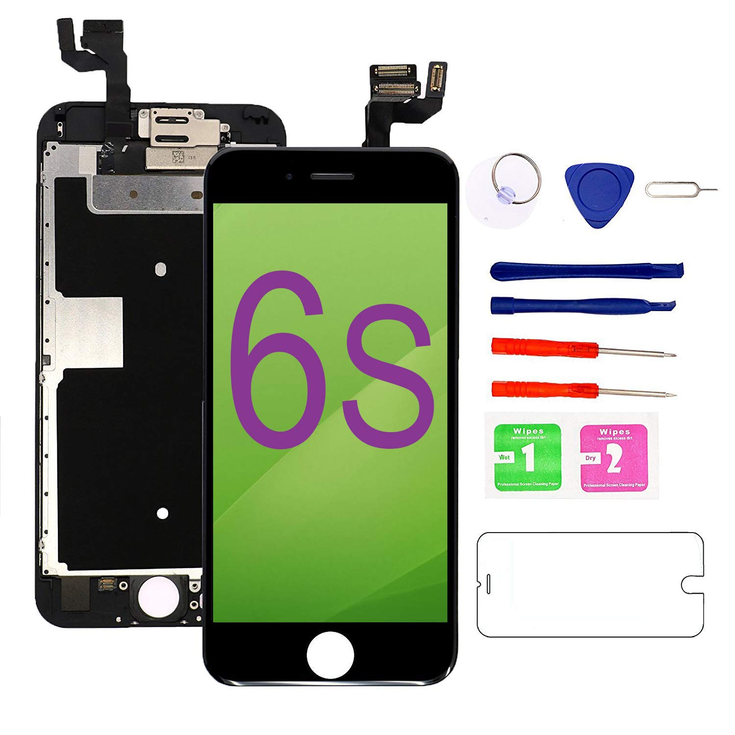 Nroech LCD Screen Replacement for iPhone 6 (Black) with Home Button, Full Assembly with Front Camera, Ear Speaker and Light/Proximity sensor, Repair Tools and Free Screen Protector Included. iPhone 6-Black