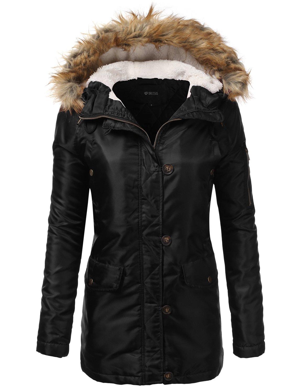 DRESSIS Women's Zip Up Fur Hooded Militray Anorak Jacket BLACK L