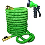 Expandable and Flexible Water Hose for Garden - 25 Feet with Solid Brass Fittings & Strongest Triple Core Latex, 8 Pattern Spray Nozzle 3/4 US Standard. Easy to Storage Kink Free Compact and Durable