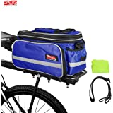 Arltb Bike Rear Bag (3 Colors) 20 - 35L Waterproof Bicycle Trunk Bag with Rain Cover Shoulder Strap Bike Pannier Tail Back Seat Bag Package Handbag Bike Accessories for Road Bikes Mountain