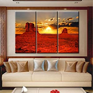 TUMOVO Beautiful Sunrise Over Iconic Monument Valley Arizona USA Extra Large 3 Panel Canvas Prints Wall Art Modern Wall Decor Landscape Picture Stretched Canvas Giclee Print Ready to Hang - 40''x60''