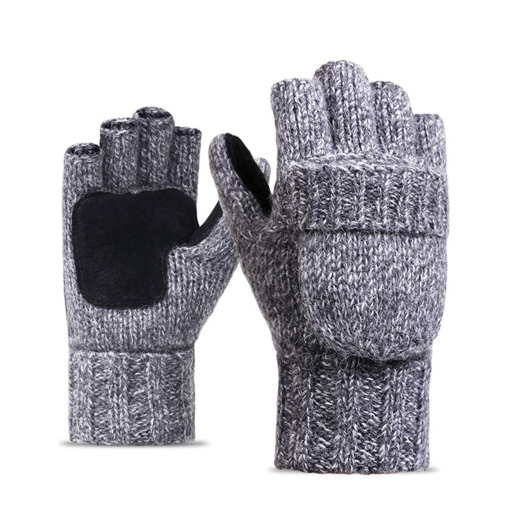 Winter Fingerless Gloves Warm Suede Palm Ragg Wool Gloves Mittens With Cover