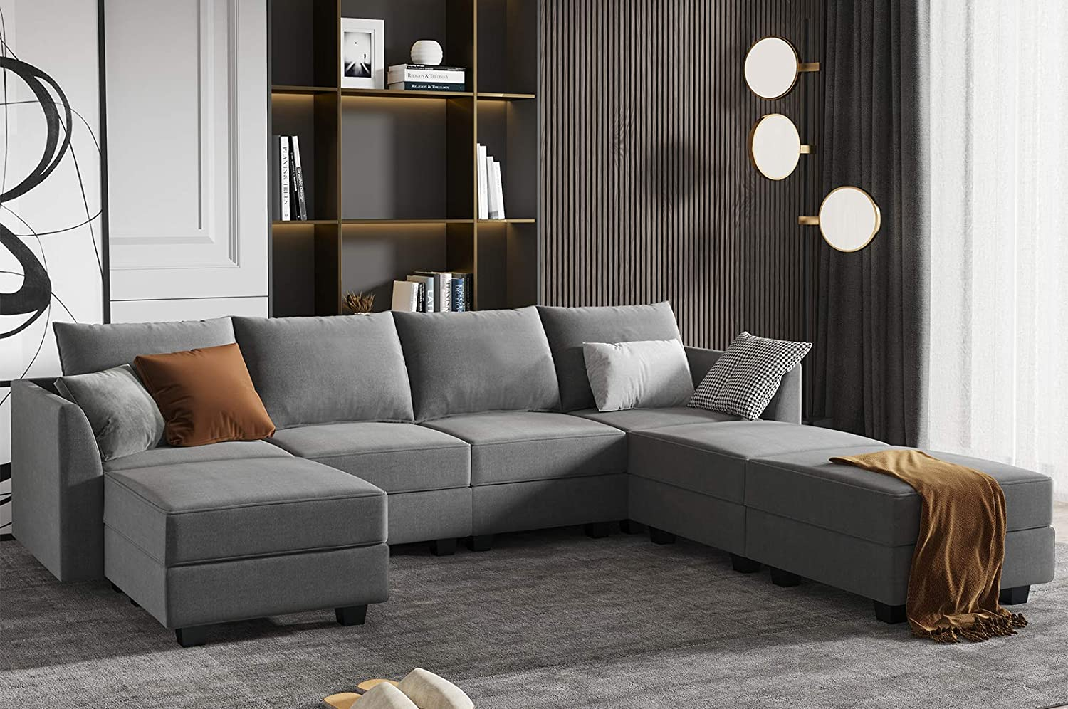 HONBAY Reversible Modular Sectional Sofa Couch Modern U-Shape Sofa with Chaise,Grey