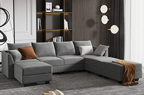 HONBAY Modular Sectional Sofa U Shaped Couch Reversible Sofa Couch