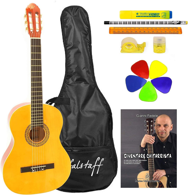 Guitarra clásica 4/4 ffalstaff® con bolsa, libreta, 5 púas y kit ...