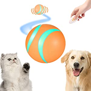 Busy Ball for Dogs&Cats | Best Remote Control Ball for Bored Pets | Dog Smart Ball | Interactive Pet Toys Automatic Moving Wicked Balls with Flash LED Light to Keep Kitty&Puppy Entertained(Orange)
