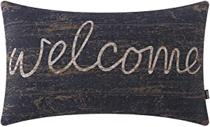 TRENDIN Welcome Pillow Cover 20x12 inch Lumbar Pillowcase Farmhouse Decorations Cotton Linen Sentiment Cushion Cover with Writing for Sofa Couch Gifts for Homebodies PL622TR
