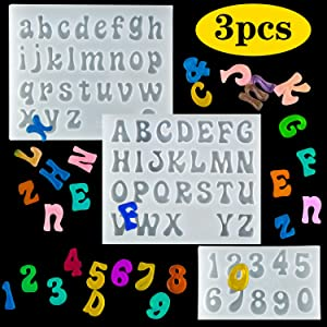 Palksky 3Pcs Mini Letters Resin Molds - Small Silicone Number Alphabet Epoxy Casting Mould for DIY Keychain Pendant Earring Jewelry, Gummy Candy Chololate Cake Decoration
