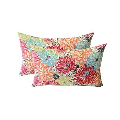 Set of 2 - Indoor/Outdoor Rectangle/Lumbar Decorative Throw/Toss Pillows ~ Yellow, Orange, Blue, Pink Bright Artistic Floral: Home & Kitchen