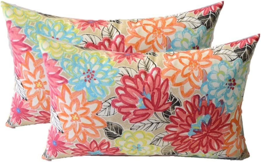 RSH Décor Indoor Outdoor Set of 2 Rectangle Lumbar Pillows Yellow, Orange, Blue, Pink Bright Artistic Floral