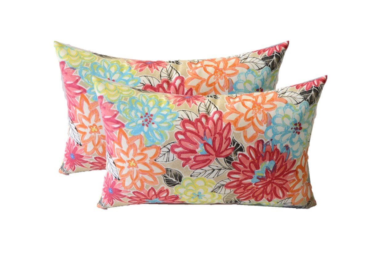 Set of 2 - Indoor / Outdoor Rectangle / Lumbar Decorative Throw / Toss Pillows ~ Yellow, Orange, Blue, Pink Bright Artistic Floral