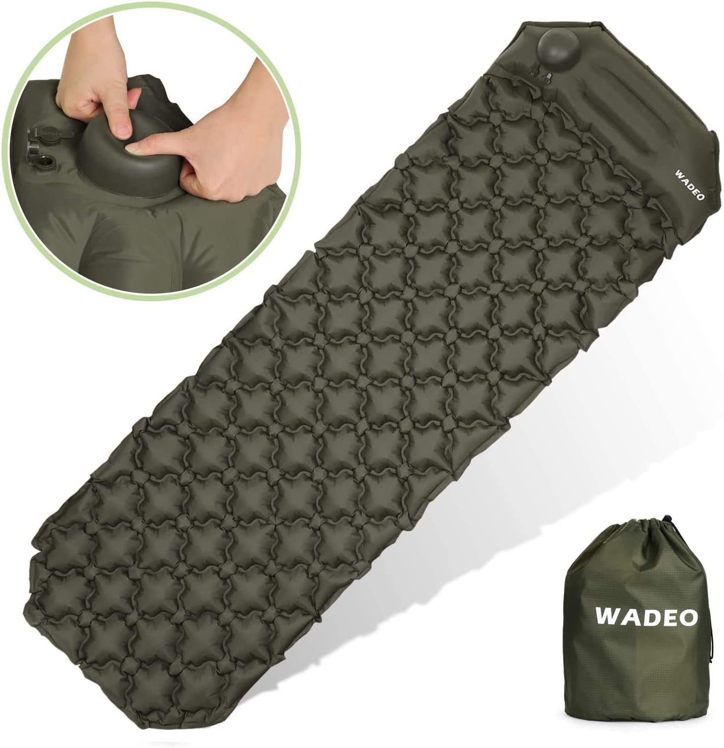 WADEO Self Inflating Camping Sleeping Pads, Ultralight Camping Mat Foldable Air Mattress Pads, Durable Waterproof Compact Inflatable Pads with Hand Press Pump and Pillow for Backpack, Travel