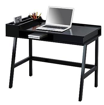 Sixbros Computerschreibtisch Schreibtisch Hochglanz Schwarz Ct 3582
