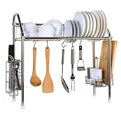 Drying Rack Creatwo Stainless Dish Rack Adjustable Kitchen Organizer for Drying Plates Bowls  sc 1 st  Amazon.com & Amazon.com: Drying Rack Creatwo Stainless Dish Rack Adjustable ...