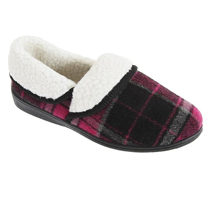 Slumberzzz - Zapatillas térmicas de andar por casa con diseño tartán para mujer: Amazon.es: Ropa y accesorios
