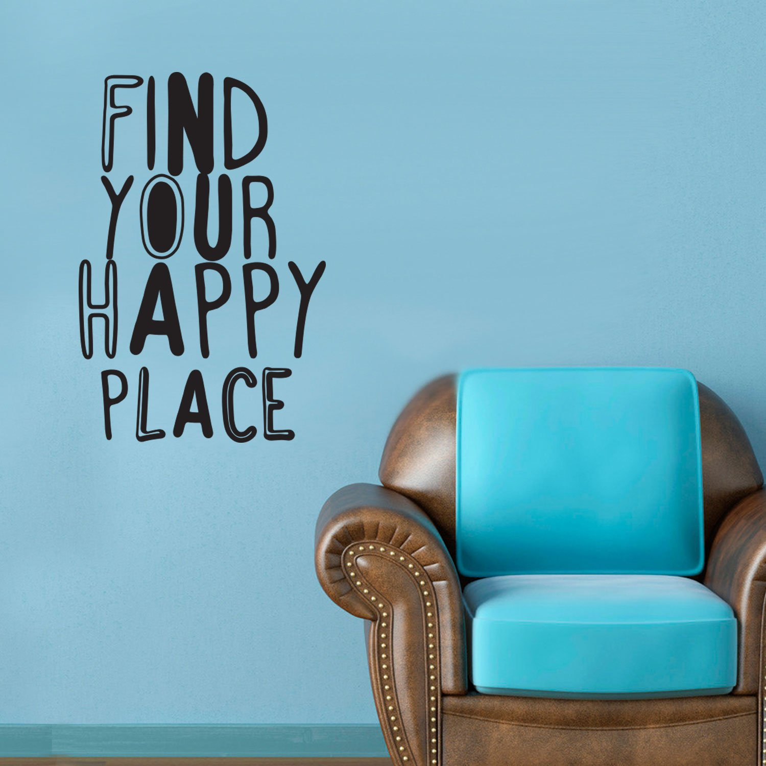Find your happy place inspirational quotes wall art vinyl decal 30 x 20 decoration vinyl sticker living room motivational wall art decal life