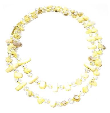 e08b2bc8078f BRANDELIA Collares Largos de Colores Mujer Bisutería de Nácar y Perlas de  Cristal