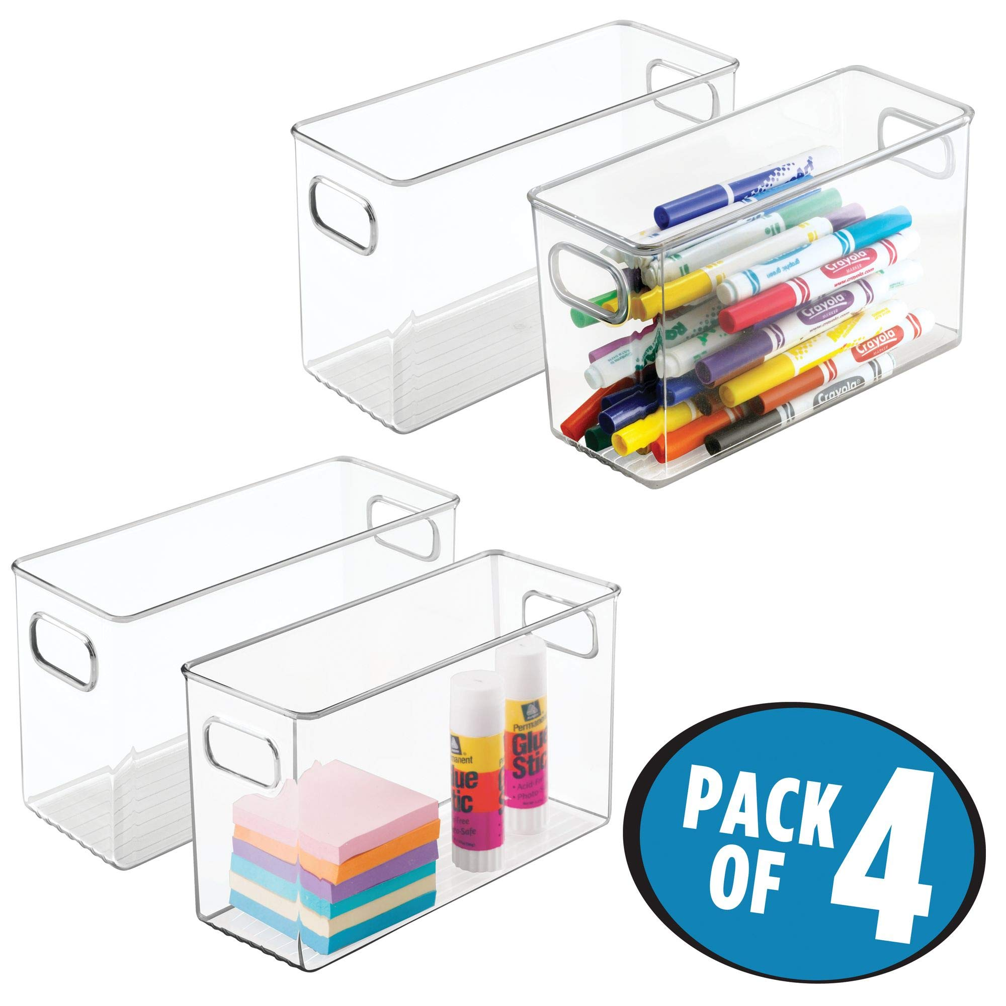 mDesign Office Supplies Desk Organizer Bin for Pens, Pencils, Markers, Highlighters, Tape - Pack of 4, 10'' x 4'' x 6'', Clear by mDesign (Image #2)