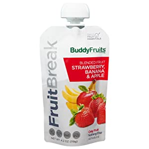 Buddy Fruits Pure Blended Fruit Break Strawberry, Banana and Apple Applesauce | 100% Real Fruits Pouches | Non GMO, Vegan, Gluten Free, No Preservatives, BPA Free | 4.2oz Pouch 14 Pack