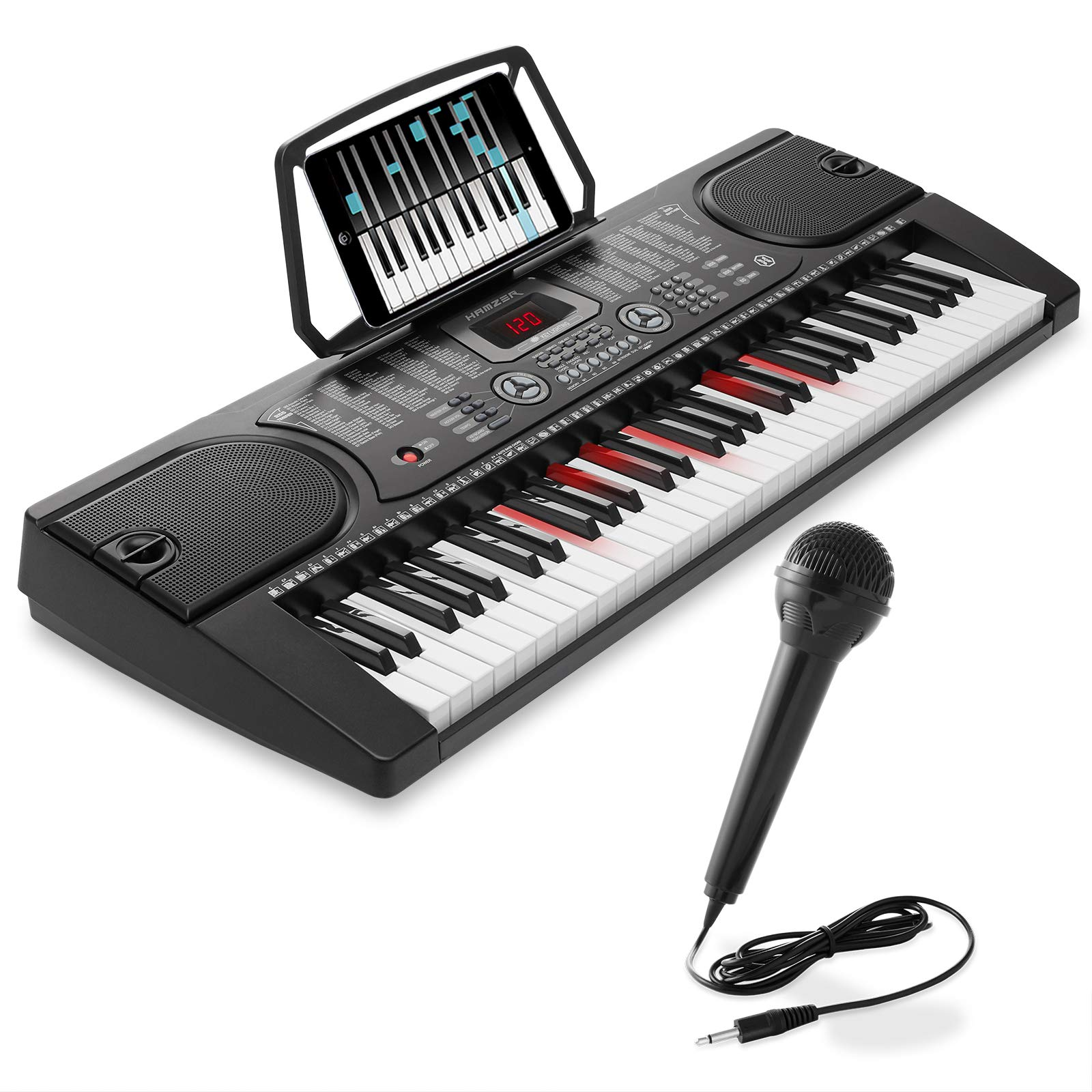 Hamzer 61-Key Electronic Keyboard Portable Digital Music Piano with Lighted Keys, Microphone & Sticker Set by Hamzer