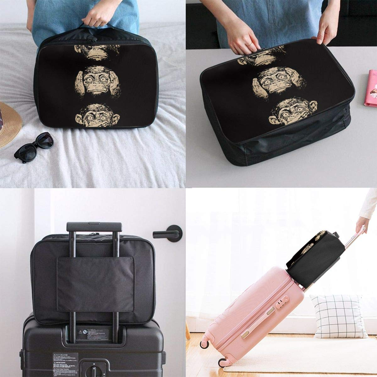Travel Luggage Duffle Bag Lightweight Portable Handbag Chimpanzee Pattern Large Capacity Waterproof Foldable Storage Tote